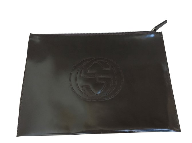 4d92c99f87f5 Gucci large flat clutch/envelope Clutch bags Patent leather Brown ref.57873