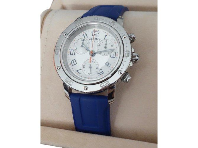 51c679e2f77e Montres Hermès MONTRE HERMES CLIPPER GM DAME Acier,Caoutchouc Bleu ref.57964