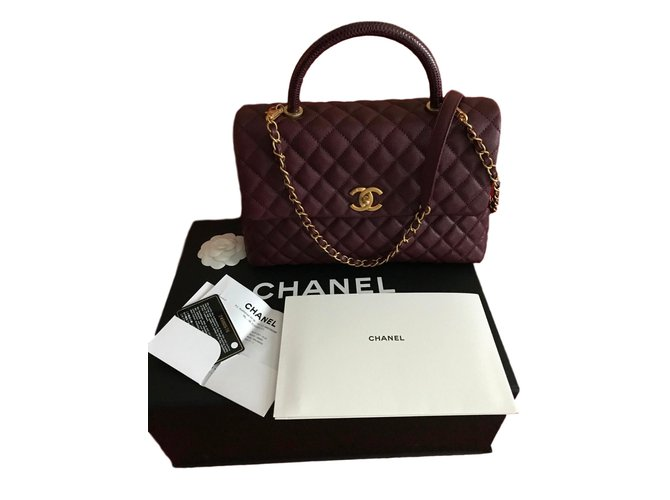 fce40da52cb09a Chanel CHANEL Coco Handle Medium Bag Burgundy Caviar / Lizard / GOLD - New  Handbags Exotic