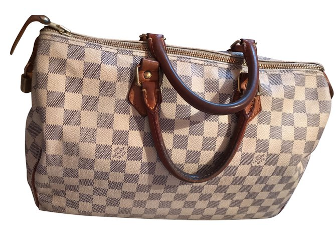 5c349207168 Louis Vuitton Speedy 35 damier azur Handbags Leather Beige ref.58100 ...
