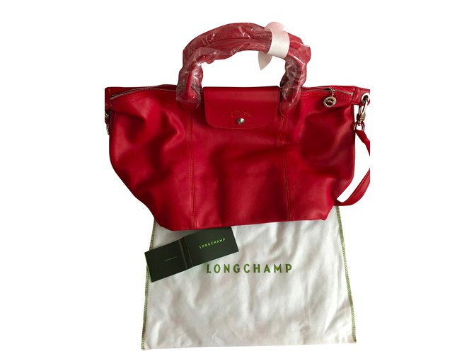 ba58b6a95974 Longchamp Le Pliage Cuir leather shopper - Red- New with tags Handbags  Leather Red ref