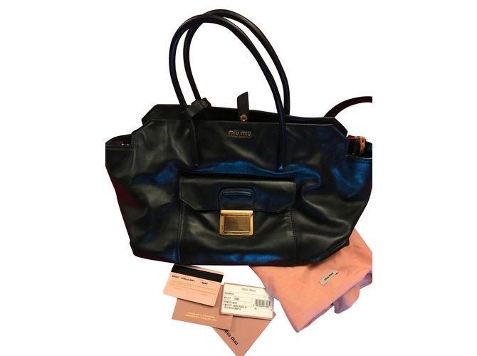 5a93ba112827 Miu Miu Miu Miu Large Tote in Vitello Soft Calf Leather - Black Handbags  Leather Black