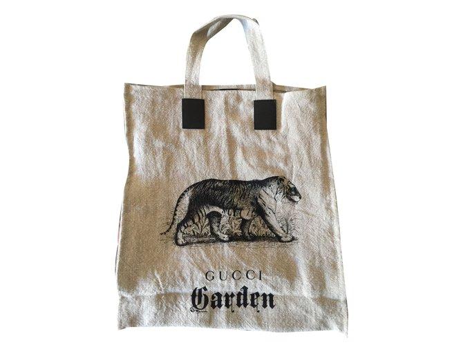 5f03ae6f571 Gucci Shopper bag Totes Cotton Taupe ref.58168 - Joli Closet