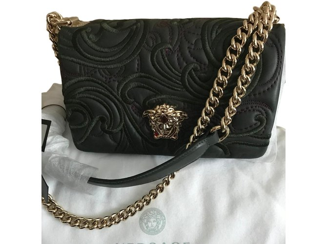 6b0f163c VERSACE Embroidered Baroque Sultan Bag - DARK GREEN - BRAND NEW!!!