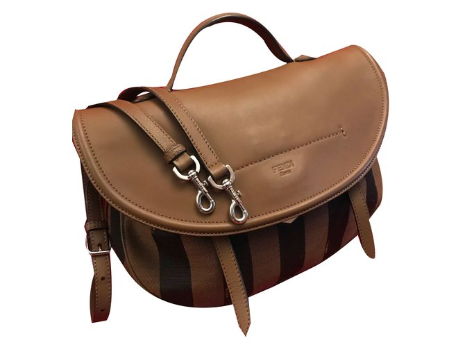 2848dc196f Fendi FENDI Brown Leather   Tobacco Pequin Stripe Canvas Top Handle Saddle  Messenger Handbags Cloth Brown