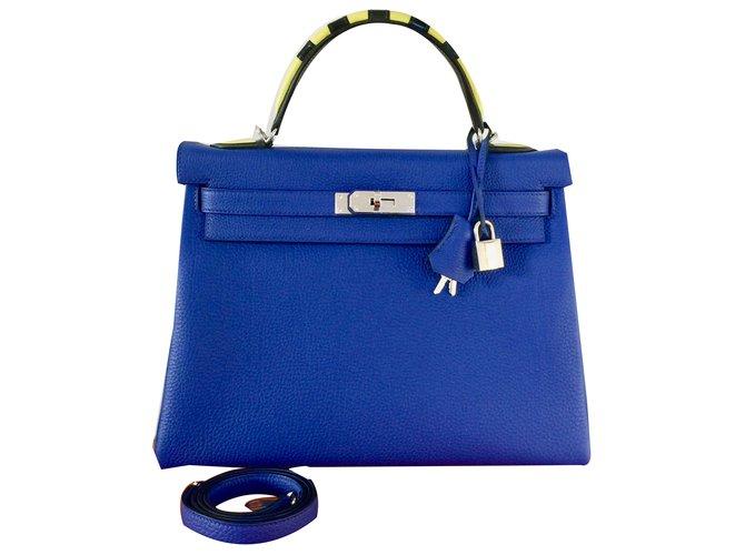 Hermès Kelly 32 Au Trot Serial Number Handbags Leather Blue
