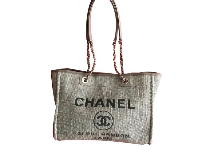 603384f7074f Chanel CHANEL Deauville Tote in Grey Canvas Handbags Cloth Grey ref.58349