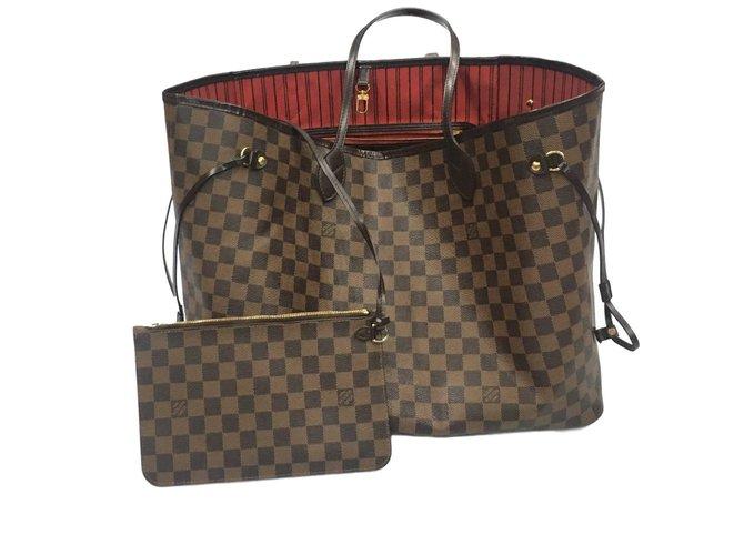 Louis Vuitton neverfull gm Handbags Leather Dark brown ref.58441 ... bd91d8d1a31