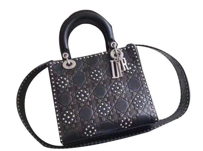 3a3be81e6948 Christian Dior Lady Dior black flower studded calfskin Handbags Leather  Black ref.58449