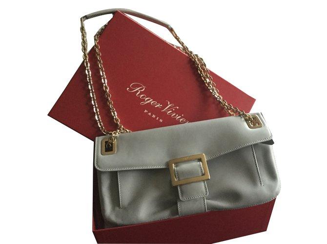 Roger Vivier Handbags Leather Grey Ref 58464