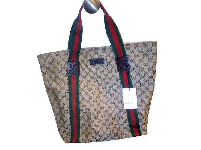 324b88e51d3 Gucci Gucci GG Web Detail Canvas Beige Tote Bag - New with tags! Handbags  Cloth