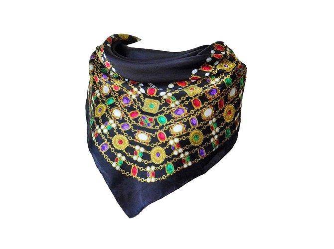Attractive Chanel CHANEL Vintage Gripoix Jewel Print Silk Scarf Silk Scarves Silk  Multiple Colors Ref.58615