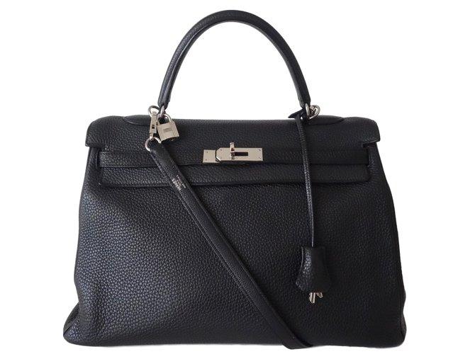 Sacs à main Hermès SAC HERMES KELLY NOIR Cuir Noir ref.58676 - Joli ... 6b933e25318