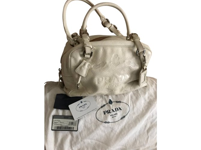 5a90e13085651 Prada PRADA Vitello Daino Leather Bauletto Boston Bag (BR3091) Handbags  Leather Cream ref.