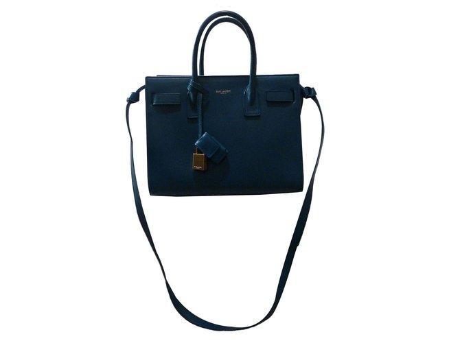 a4cbb24a80 Saint Laurent Baby Classic Sac de Jour Satchel Bag Handbags Leather Blue ref .58872