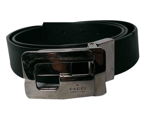 Gucci Men's Belt Belts Leather Black ref.59026