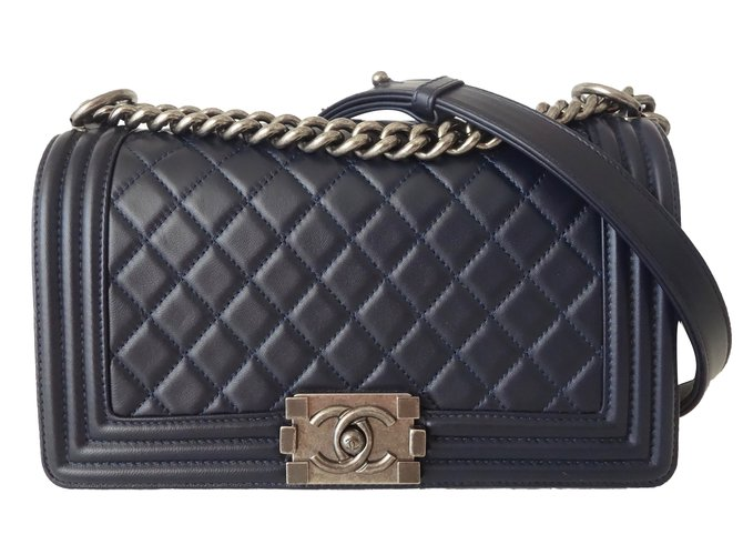 Chanel Boy Medium Handbags Leather Blue Ref 59194