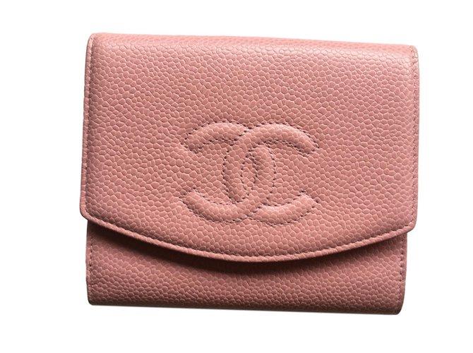Portefeuilles Chanel Portefeuille CHANEL caviar rose NEUF JAMAIS PORTE Cuir  Rose ref.59221 5d88fea7d86