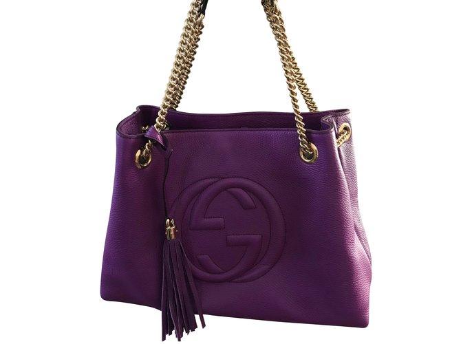 78a5c98a3b1 Gucci GUCCI Soho purple shoulder bag with chain strap Handbags Leather  Purple ref.59229