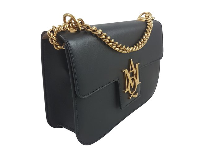 a4301d502a36 Alexander Mcqueen Alexander mcqueen insignia satchel with chain Handbags  Leather Black ref.59422