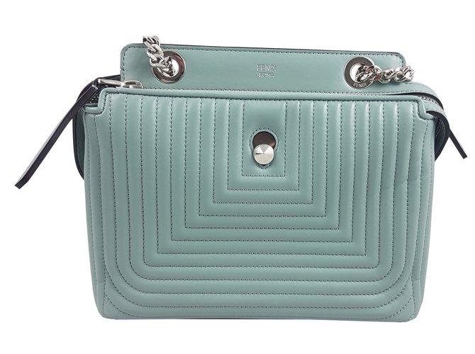 10494226842d Fendi BLUE PALE DOTCOM QUILTED LEATHER SMALL SHOULDER BAG Handbags Leather  Blue ref.59432