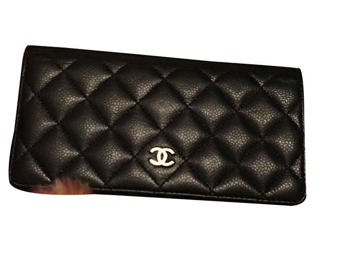 2e557b0f2c2b Chanel Classic Flap Wallet Handbags Leather Navy blue ref.59832 ...