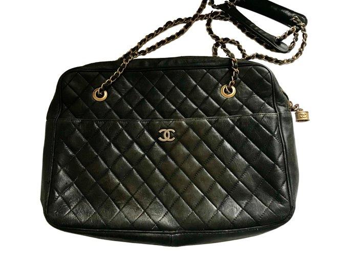 Chanel Vintage Bag Handbags Leather Black Ref59960