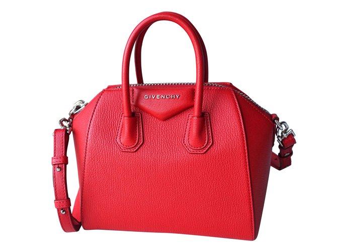 f934537773 Givenchy Mini Antigona Handbags Leather Red ref.60073 - Joli Closet
