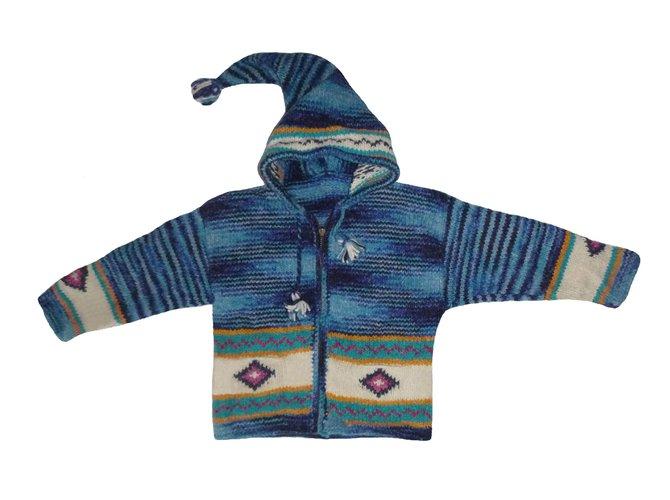 Pulls, gilets fille Autre Marque Veste péruvienne Pérou à capuche Bleue Pure laine Bébé Enfant 2 / 4 ans Laine Blanc,Bleu ref.60123