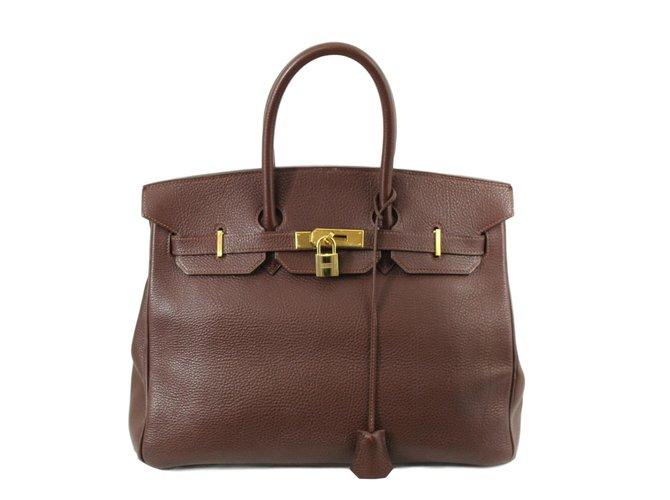 Hermès Birkin 35 Handbags Leather Dark brown ref.60335
