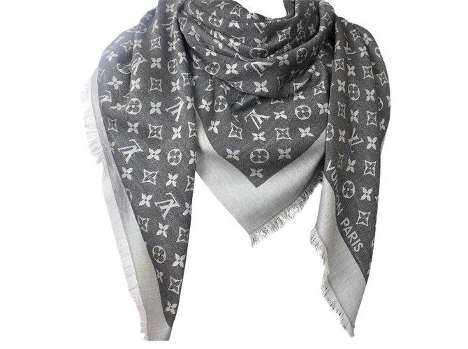 d66e0b80dccf Louis Vuitton Classic Monogram Scarf Scarves Silk Black ref.59394 ...