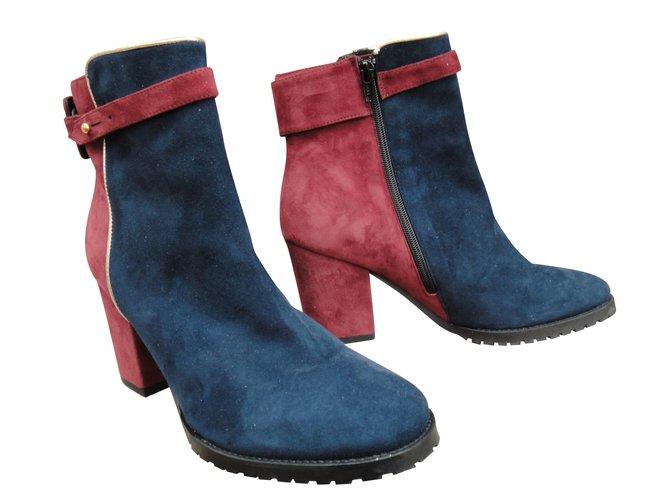 71579d6a39f460 Paul   Joe Sister Ankle Boots Ankle Boots Deerskin Blue ref.60512 ...