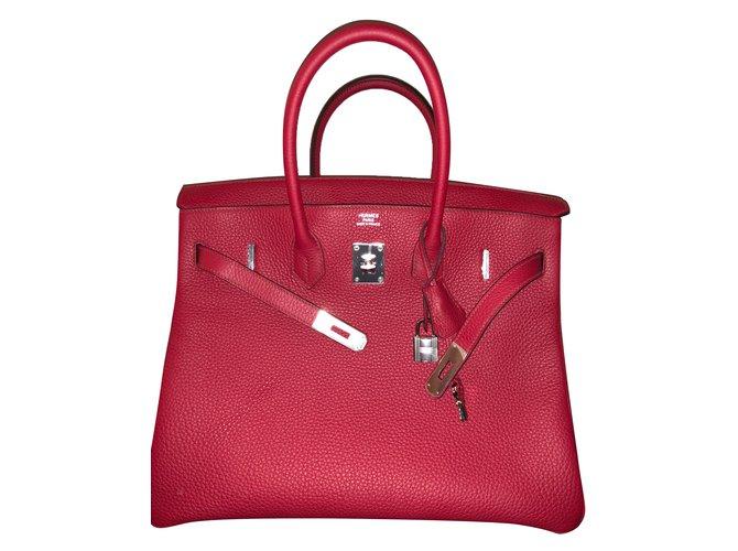 Hermès Birkin 35 Handbags Leather Red ref.60636