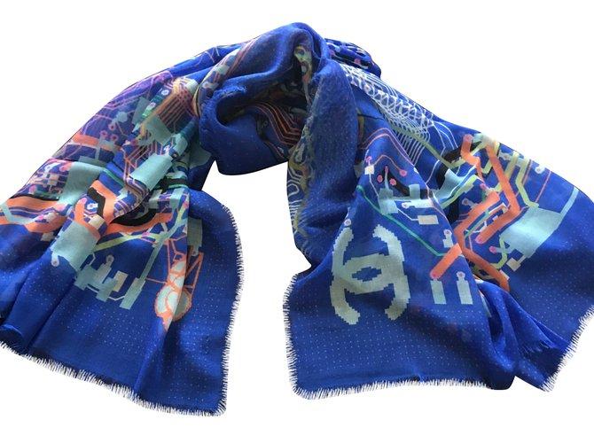 Chanel Scarves Scarves Cashmere Blue ref.60648
