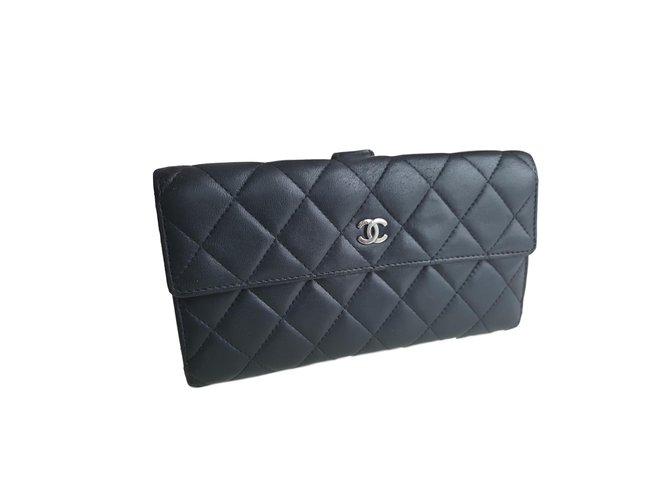 Portefeuilles Chanel Portefeuilles Cuir Noir ref.60770 - Joli Closet 9c686b473fc