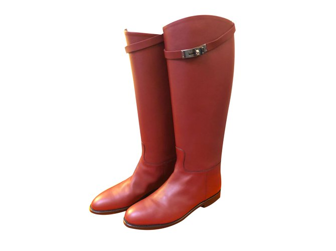 Hermès Hermes Kelly Jumping Boots in Burgundy Boots Leather Dark red ref.60838