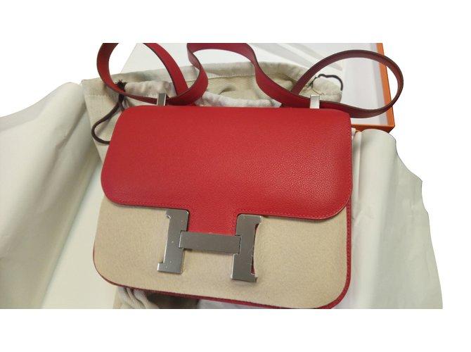 Sacs à main Hermès Constance 24 rouge casaque palladium Cuir Rouge ref.60893