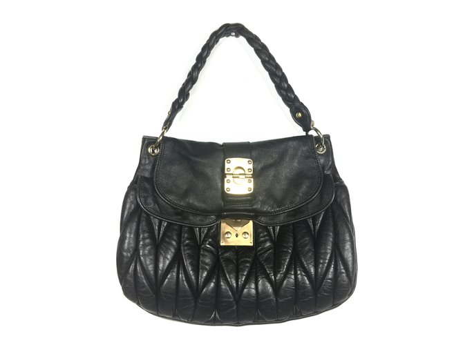 47c2755e432 Miu Miu Quilted leather satchel Handbags Leather Black ref.60896 ...