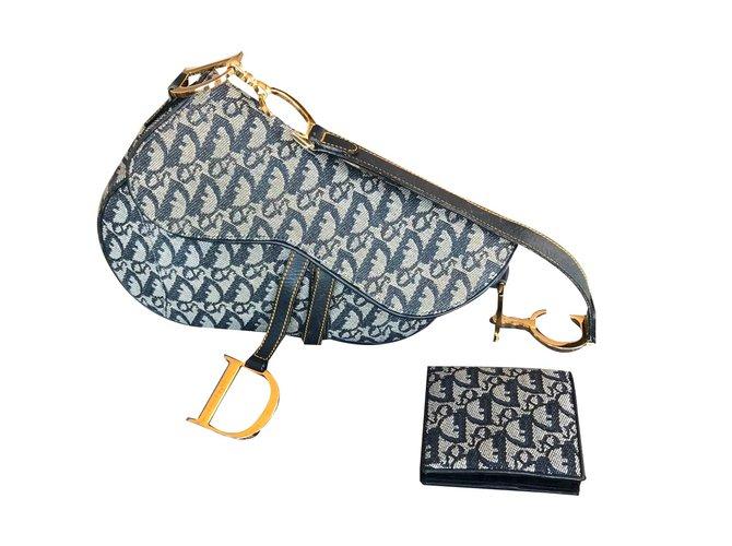 Sacs à main Christian Dior Saddle Cuir,Toile Bleu Marine ref.60907 ... 9bacd911610