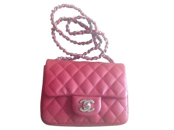 b1d58c3c3c4c Chanel mini square Handbags Patent leather Red ref.61178 - Joli Closet