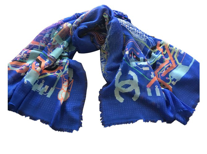 Chanel Scarves Scarves Cashmere Blue ref.61263