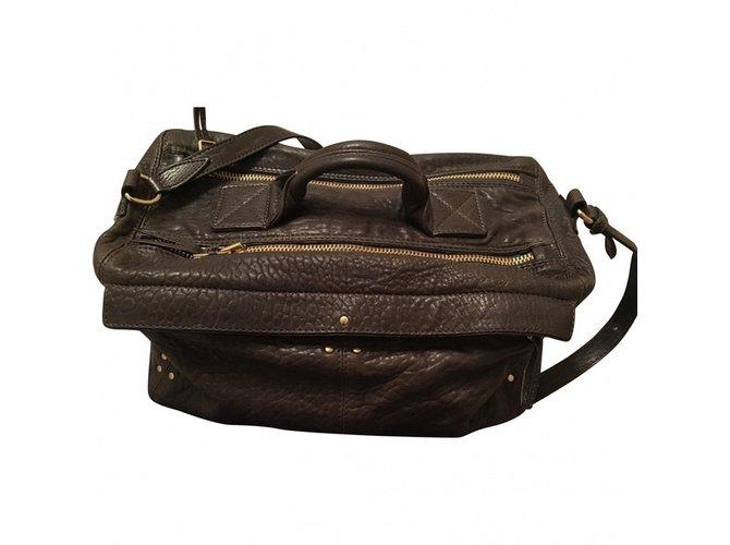 9a7a482dcf427 Jerome Dreyfuss Raoul Handbags Leather Dark brown ref.61284 - Joli ...