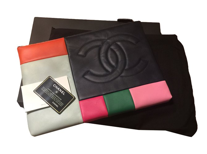 Chanel Clutch Bags Leather Multiple Colors Ref 61394