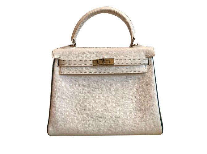 Hermès Joli Ref Sacs Kelly 61477 25 Closet Main Cuir À Blanc 7Yfy6bg