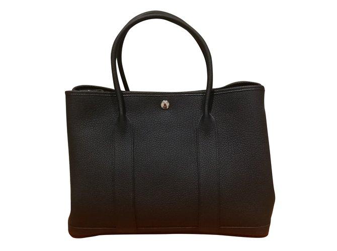 Hermès Hermès garden party 36 Handbags Leather Black ref.123720