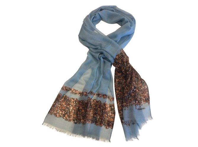 Chanel Scarves Scarves Cashmere Blue ref.61607