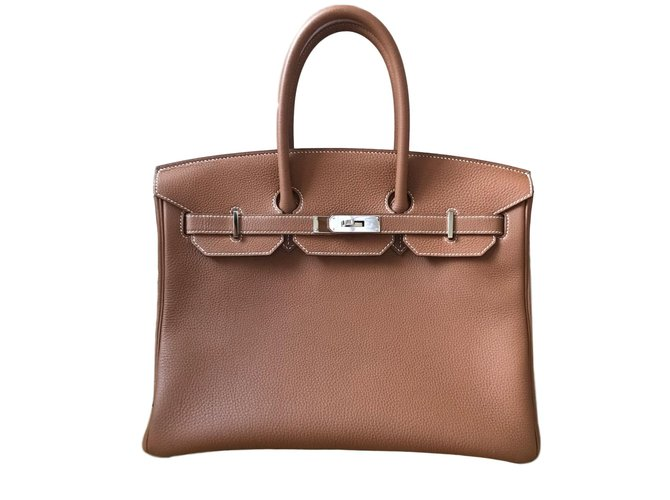 Sacs à main Hermès Birkin 35 Cuir Caramel ref.61765
