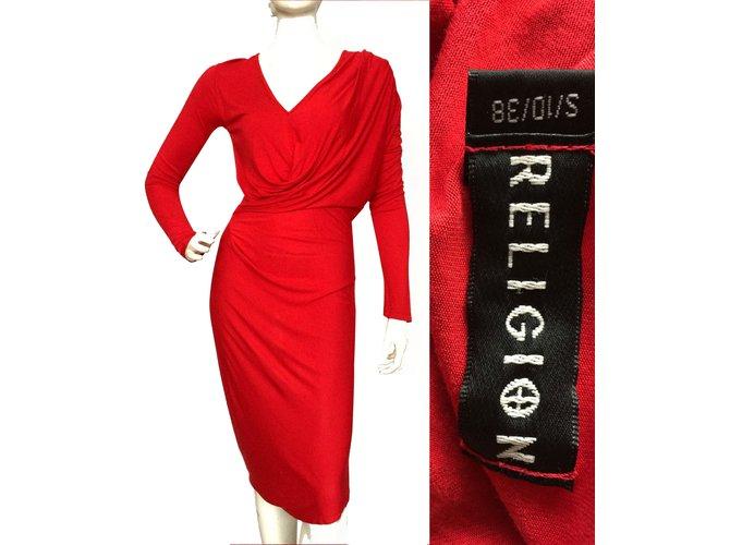 72a5a965b813 True Religion Draped jersey dress Dresses Rayon Red ref.61780 - Joli ...