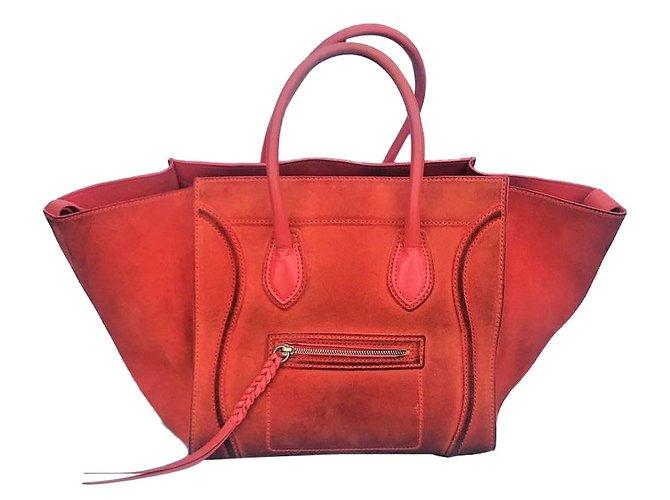 ... Sacs à main Céline Luggage Phantom Suede Orange ref.61791 ... 9d9b6f9649