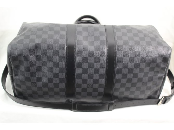 Louis Vuitton Keepall 45 Travel bag Leather Dark grey ref.61876 ... 1d1b426c0f578